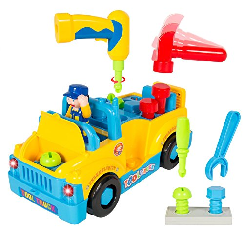 Fully Equipped Tool Toy Truck for Kids with Functioning Electric Toy Drill | 360 Degree Motion with Catchy Music & Flashing Lights | Great Children's Educational Learning Toy for Boys & Girls