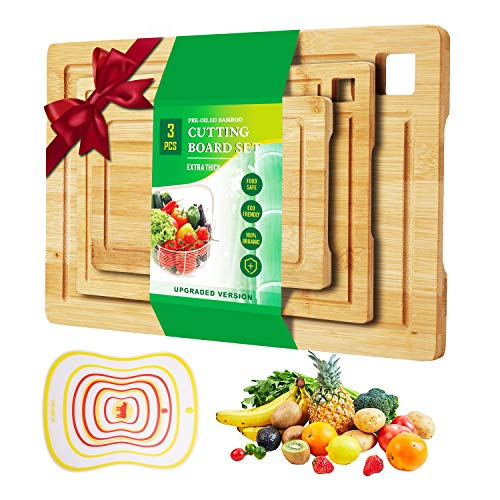 3 Piece Bamboo Cutting Board Juice Grooves for Kitchen with Handle Serving Tray Reversible Chopping Board Carving Board