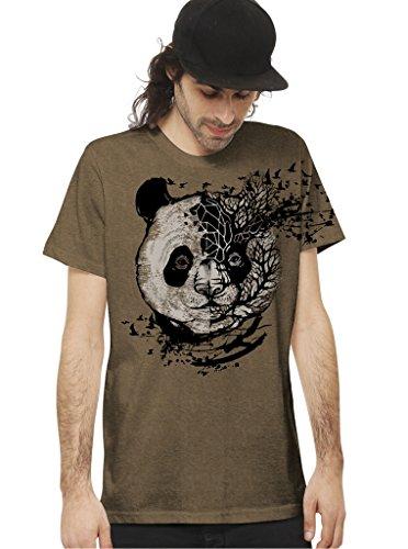 Herren Baumwoll T-Shirt - Rundhalsausschnitt - Psychodelisches Grafikdesign - Mokka - Medium