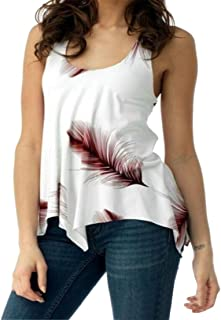 FRPE Women's Sleeveless Printing Fashion U Collar Lace Up Bandage Feather T-Shirt Blouse Tank Top
