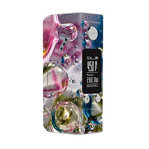 Skin Decal Vinyl Wrap for Wismec RX200S Reuleaux Vape Mod / Bubblicious Water Bubbles Colors