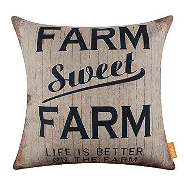 LINKWELL 18x18 inches Vintage Farmhouse Farm Sweet Farm Burlap Pillowcase Throw Cushion Cover (CC1291)