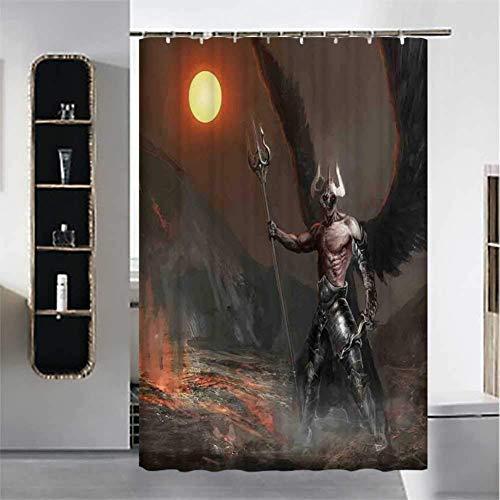 AYogg Duschvorhang Fantasy World dekorativer Duschvorhang, Ritter mit Federn Engel Teufel Mond Feuer Fantasy Nacht