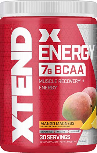 XTEND Energy BCAA Powder Mango   125mg Caffeine + Sugar Free Pre Workout Muscle Recovery Drink with Amino Acids   7g BCAAs for Men & Women   30 Servings   Packaging May Vary , 12.27 Ounce (Pack of 1)