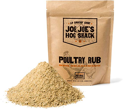 Joe Joe's Hog Shack Poultry Rub - BBQ Dry Rub & Seasoning - Great on Chicken Breast, Wings, Thighs, Legs & More - 100% Natural Ingredients (10 oz.)