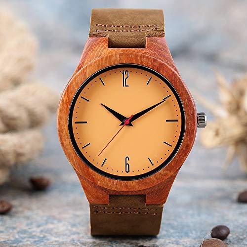 YJRIC Reloj de Madera Reloj Hombre Reloj dePulsera de CueroUltraligero paraMujer Reloj de Madera Natural Hombre Movimiento de Cuarzo