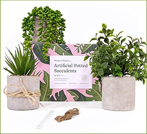 Modern Planter Fake Potted Plants Decor (3 set) - Farmhouse Plants up to 12'- Use Fake Plants for Shelves, Fake Desk Plants or Desk Decor. Faux Potted Plant for Farmhouse Office Decor, Bathroom Plants