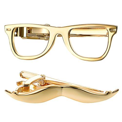 Yoursfs Tie Clip Glasses Moutache Set Gold Tie Bar Clips for Men Personaized Slim Tie Pins