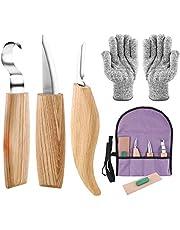 6 in 1 Houtsnijmes Gereedschap Set voor Beginner-Inclusief Whittling Mes, Haaksnijmes, Chip Carving Mes, Knip Resistant Handschoenen, Carving Mes Sharpener Kit voor Lepel Carving Hout Werken