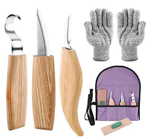Holz-Schnitzwerkzeug Set,E-Bestar 6 teiliges Holz Schnitzmesser set Schnitzwerkzeug Set ideales zum Anfänger/Profis Löffel Schnitzen (6 in 1)