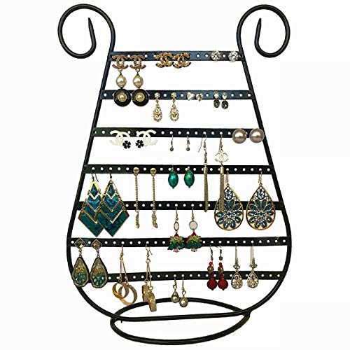Tytroy Black Metal Harp Shaped Earring Organizer Holder (Up to 78 Pairs) Jewelry Display Stand (1 pc)