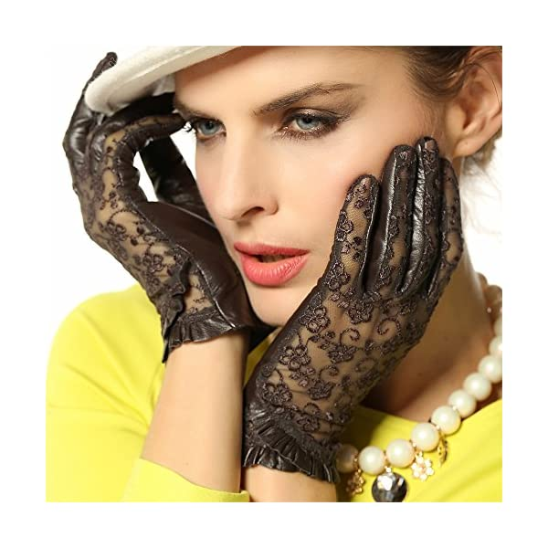 Warmen Women's Gothic Medival Lolita Bridal Lace Evening Party Costume Dance Nappa Leather Unlined Driving Gloves