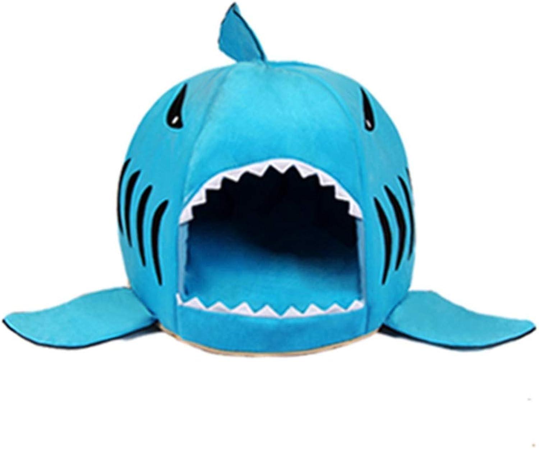 Hyue Removable and Washable Cartoon Shark Nest Cat Litter Pet Sleeping Bag Kennel Quatern Seasons Universal AntiSlip Antibite (color   bluee, Size   M)