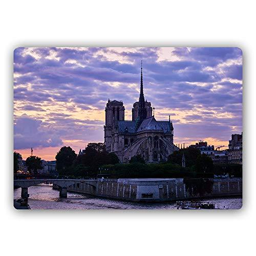 F FEEBY WALL DECOR Imagen Poster de Metal Catedral Placa Pared Paris Francia Morado 60x40 cm