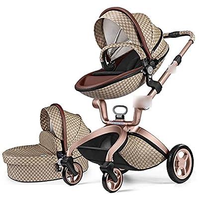 3 en 1 Cochecito de bebé de Lujo al Alto Paisaje PRAM Puede Sentarse en el Carro reclinable de Choque Plegable para el bebé recién Nacido (Color : Lattice 2 in 1)