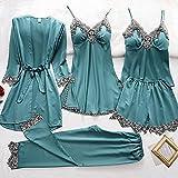 LJLLINGC Nuevos Conjuntos de Pijamas de 4 Piezas para Mujer Pijamas de Seda Conjuntos de Ropa de Dormir Moda de Encaje Sexy Ropa de hogar para Primavera y otoño