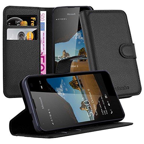 Cadorabo Hülle für Nokia Lumia 550 in Phantom SCHWARZ - Handyhülle mit Magnetverschluss, Standfunktion & Kartenfach - Hülle Cover Schutzhülle Etui Tasche Book Klapp Style