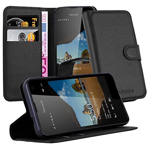 Cadorabo Hülle für Nokia Lumia 550 - Hülle in Phantom SCHWARZ – Handyhülle mit Kartenfach und Standfunktion - Case Cover Schutzhülle Etui Tasche Book Klapp Style