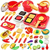 68PCS Pretend Play Kids Kitchen Toys Playset Accessories Set, Toy Pots and Pans Cooking Sets, Electronic Induction Cooktop w/ Cutting Play Food Toys Dishes Utensils for Girls Boys Kids Toddlers