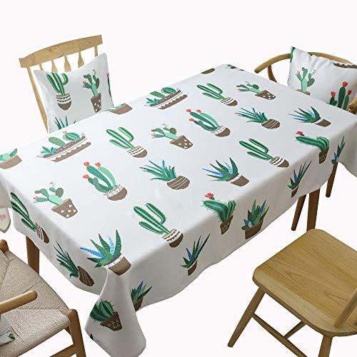 MCZ Cubierta Rectangular Cactus de Tela Mantel Creativo Mesa de Centro Pastoral Cubierta de Mantel Engrosamiento de Toallas (130 * 160 cm)
