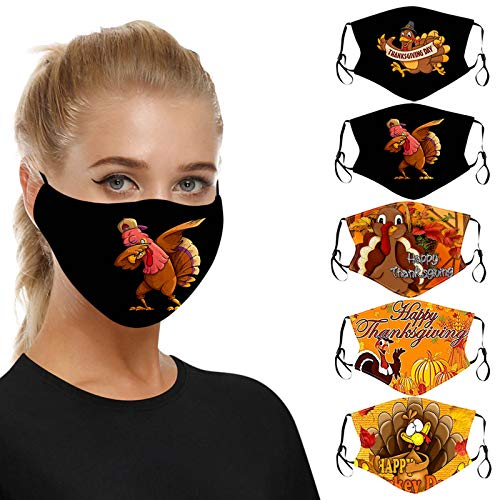 Renzhe 5PCS Face_Mask Fall Thanksgiving Country Farmhouse Truck Retro Red Rustic Fall Farm Harvest Car with Pumpkin and Autumn Maple Leaves Balaclava Reusable Anti-Dust Mouth Bandanas