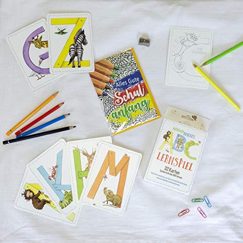 Geschenke Set zur Einschulung ABC Lernspiel mit Tieren 32 Karten inkl. Grußkarte Alles gute zum Schulanfang Kartenspiel um spielerisch das Alphabet zu lernen für Kinder Skorpion Papeterie