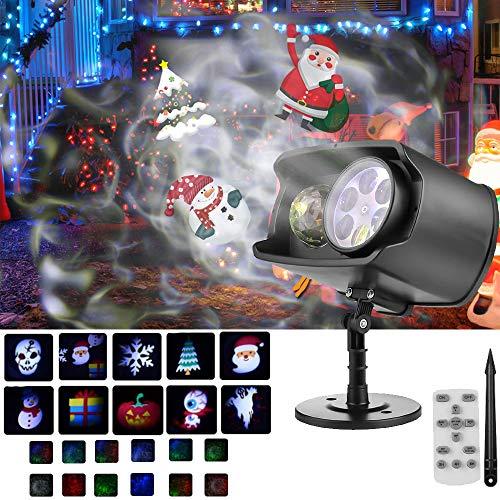 VEEKI - Proyector de luces de Navidad para exteriores e interiores, con temporizador de luz de Navidad LED, 13 ondas del océano y 11 patrones, temporizador de control remoto para decoraciones de Navidad, regalos fiesta (negro)