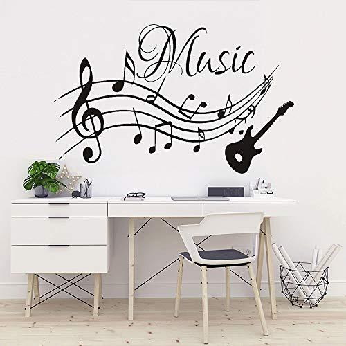Muzikale notities Muziek Gitaar Vinyl Muurstickers Woonkamer Decal Kwekerij Home Decoratie Verwijderbare Behang Art muurschildering57x63cm