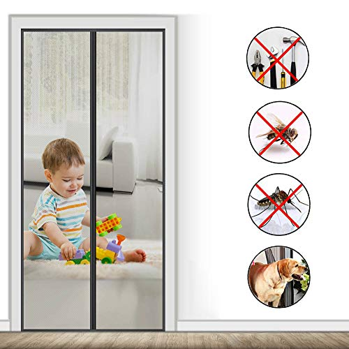 SODKK Screen Doors 45x102inch, Black Anti Mosquito Magnetic Soft Door, Magnetic adsorption Foldable, Powerful Magnets