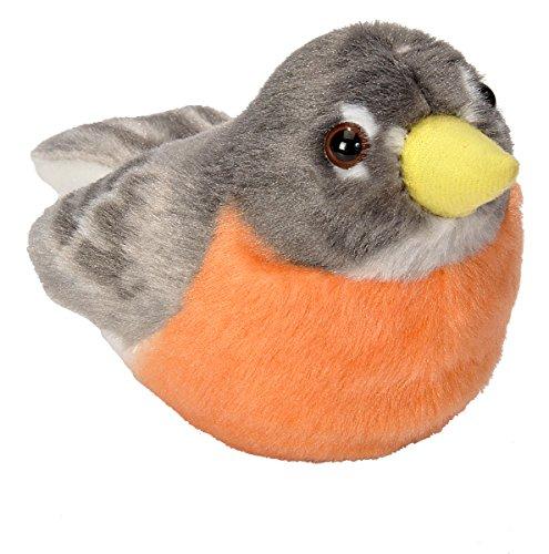 Wild Republic Audubon Birds American Robin Plush Authentic Bird Sound, Stuffed Animal, Bird Toys for Kids, American Robin