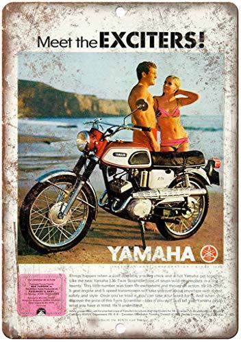 Yamaha Exciters Motorcycle Vintage Placa Vintage Metal Cartel de Chapa Cartel Póster de Pared Decorativas Hojalata Signo para Café Bar Película Regalo Boda Cumpleaños