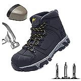 HOAPL Botas de Trabajo para Hombres Ligeras Punteras de Acero Gorro de Botas de Seguridad Transpirables Construcción Calzado de protección Puntera de Acero Antideslizante Zapatos de construcción,46