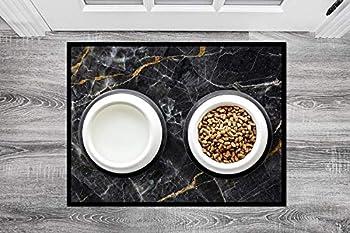 Queence Floorinx Tapis de gamelle design en polaire HiTech pour animaux de compagnie 3 animaux chiens chats | Tapis de gamelle | intérieur et extérieur | antidérapant 40x30 cm Marbre / noir.