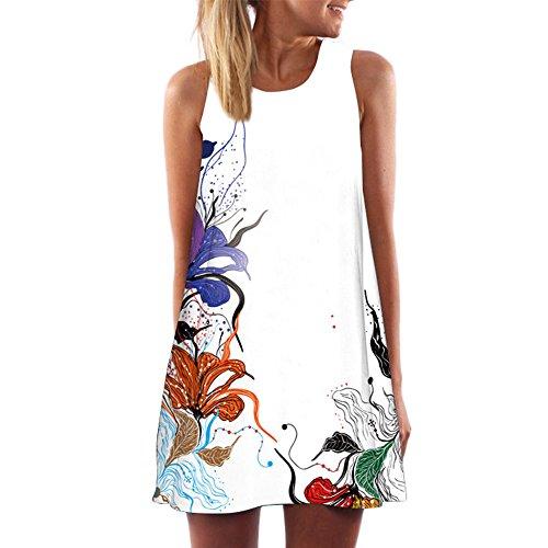 Lialbert Schulterfreies Kleid Bedrucktes Off-Shoulder Dame Kurzes äRmelloses Blumenmuster Swing-Kleid TräGerloses Maternity-Kleid Freizeit Strandkleid Lockerer Kleider WeißWeiß