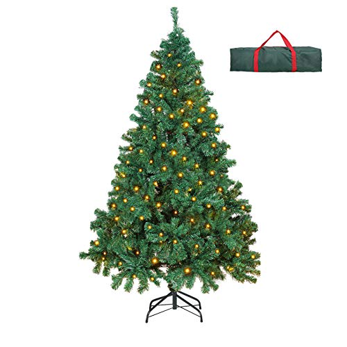 OUSFOT Prelit Christmas Tree 6 Feet 400 LEDs 800 Tips 8 Lighting Modes Warm White Artificial Christmas Tree with Storage Bag Easy Assembly Foldable Metal Stand PVC Indoor