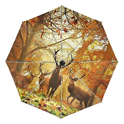 MALPLENA Malpela Regenschirm für Jagd, Hirsch, Herbstmuster, automatisch, offen, tragbar, geeignet für Männer und Frauen, Geschenkwahl