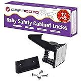 Baby Safety Cabinet Locks 12 Pack Black-Grandoto Children Cabinet Baby Safety Locks Latches for Cabinet & Drawers