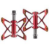 Pedales Aleacin de Aluminio Ultraligera Eje Pedal de Bicicleta Pedales de Bicicleta de montaa CNC Pedales de Carretera MTB Rodamientos Cuerpo BMX (Color : Rojo)
