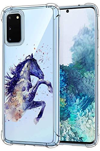 Oihxse Funda Compatible con Samsung Galaxy J7/J7 Neo Ultra Delgada Ligera Transparente Silicona TPU Gel Suave Carcasa Elegante Patrón Anti-Rasguño Protector Caso-Caballo