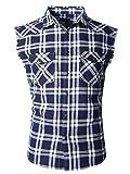 NUTEXROL Camisas de Hombre Camisa a Cuadros Camisas de Vestir Sin Manga, Casual, Cómodo y Moderno para Verano,Azul Marino/Blanco,Tamaño XXL