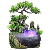 WLQWER Cascada de Fuente de Escritorio de relajación Interior con rocalla, acuarios, Planta, humidificador atomizador para decoración de Escritorio de Dormitorio de Oficina en casa