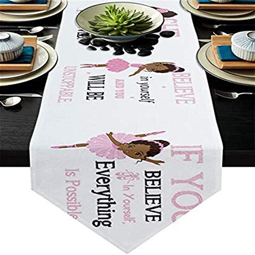 VJRQM Camino de mesa antideslizante de arpillera para cenas, fiestas de vacaciones, bodas, eventos, decoración, niña africana en vestido rosa, cita motivacional, 33 x 177 cm