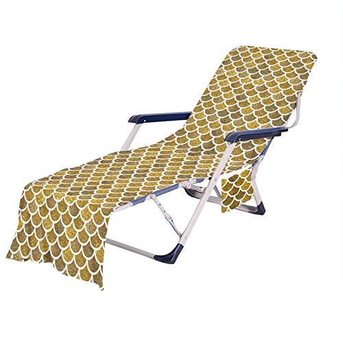 Tumbona para Playa,Toalla de Playa Vistoso Sirena Escamas de Pescado Impresión Funda de Silla de Playa Portátil Microfibra con Bolsillo 75 × 210 cm (Color 4, 75 × 210 cm)