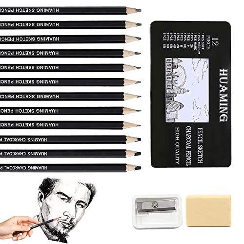 14 pcs Skizzen-Set,Zeichnen Graphite Set,Zeichenstifte,Professionelles Zeichnen Bleistifte,Zeichnen Bleistift Set,Skizze Bleistift,Bleistift für Künstler
