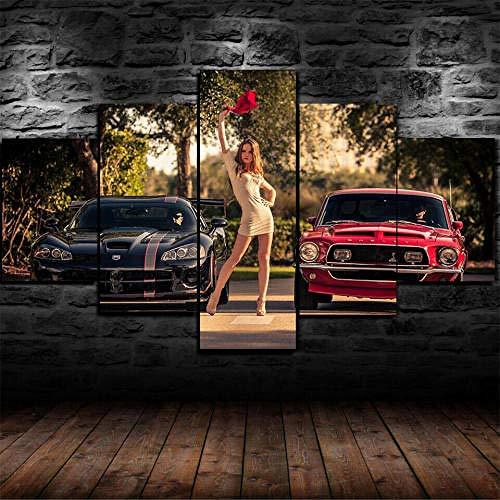 MENGLE Cuadro Decoración Arte Pared Salon Abstractos Hogar Moderno-Impresión En Lienzo 5 Piezas XXL-Mural No Tejido Impresión Artística Imagen Gráfica Regalo Navidad Car Racing Start Chica 125X60Cm