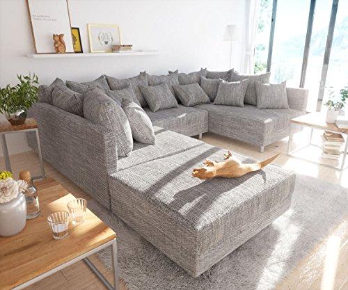 DELIFE Couch Clovis Hellgrau Strukturstoff mit Hocker Wohnlandschaft Modulsofa
