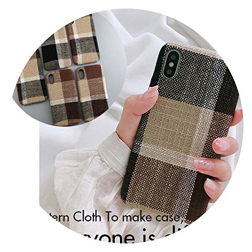 Cloth Texture Soft case for iPhone 7 Case for iPhone 6 6s 7 8 Plus X Xs max XR Thin Canvas Grid Pattern Phone Cases,IK51-GE zh EI,for iPhone 6plus