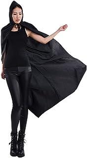 OULII Capa con Capucha Halloween Disfraz de Bruja Vampiro Capa Negro Adulto Unisex 170cm