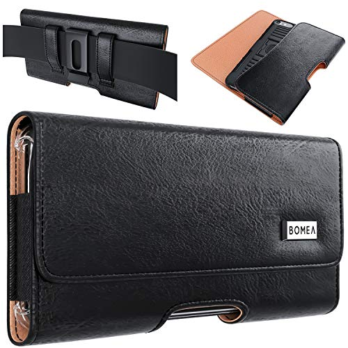 Bomea iPhone 12 iPhone 12 Pro / 11 / iPhone XR Holster, Cell Phone Belt Holster Case with Belt Clip Carrying Pouch Belt Holder for Apple iPhone 12 iPhone 11 / XR (Fits Phones w/Thin Cases on)- Black