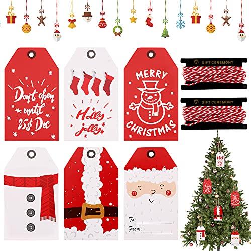 Lote de 120 etiquetas de regalo de Navidad de papel kraft con cordón de algodón rojo y blanco navideño